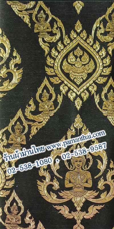 วอลเปเปอร์ลายไทย ลายเทพพนมสีดำ